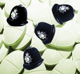 Policeman's helemts and tablets - visual pun