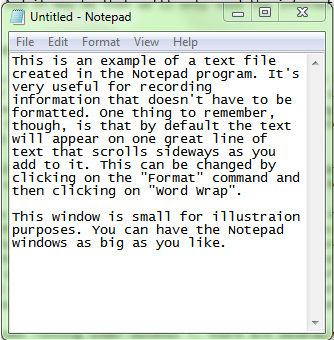 a small window showing Windows Notepad
