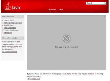 Java Not Present Screen