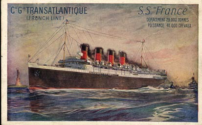 Postcard of the SS France, from 1912.
