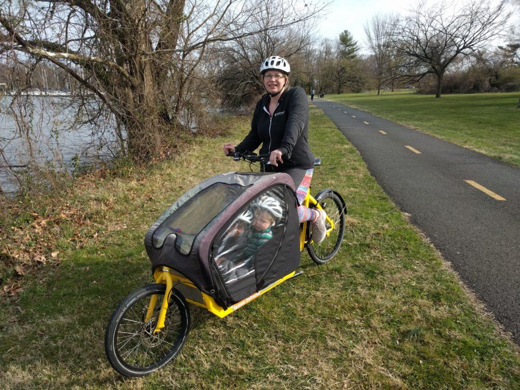 Alyscia on a bakfiet bike in DC