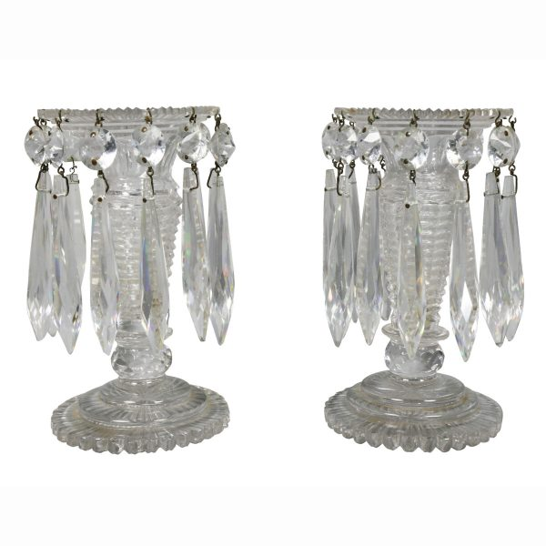 Pair of Regency Anglo Irish Cut Glass Lustres