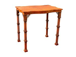 George III Style Burl Walnut and Mahogany China Table Attributed to Gillow