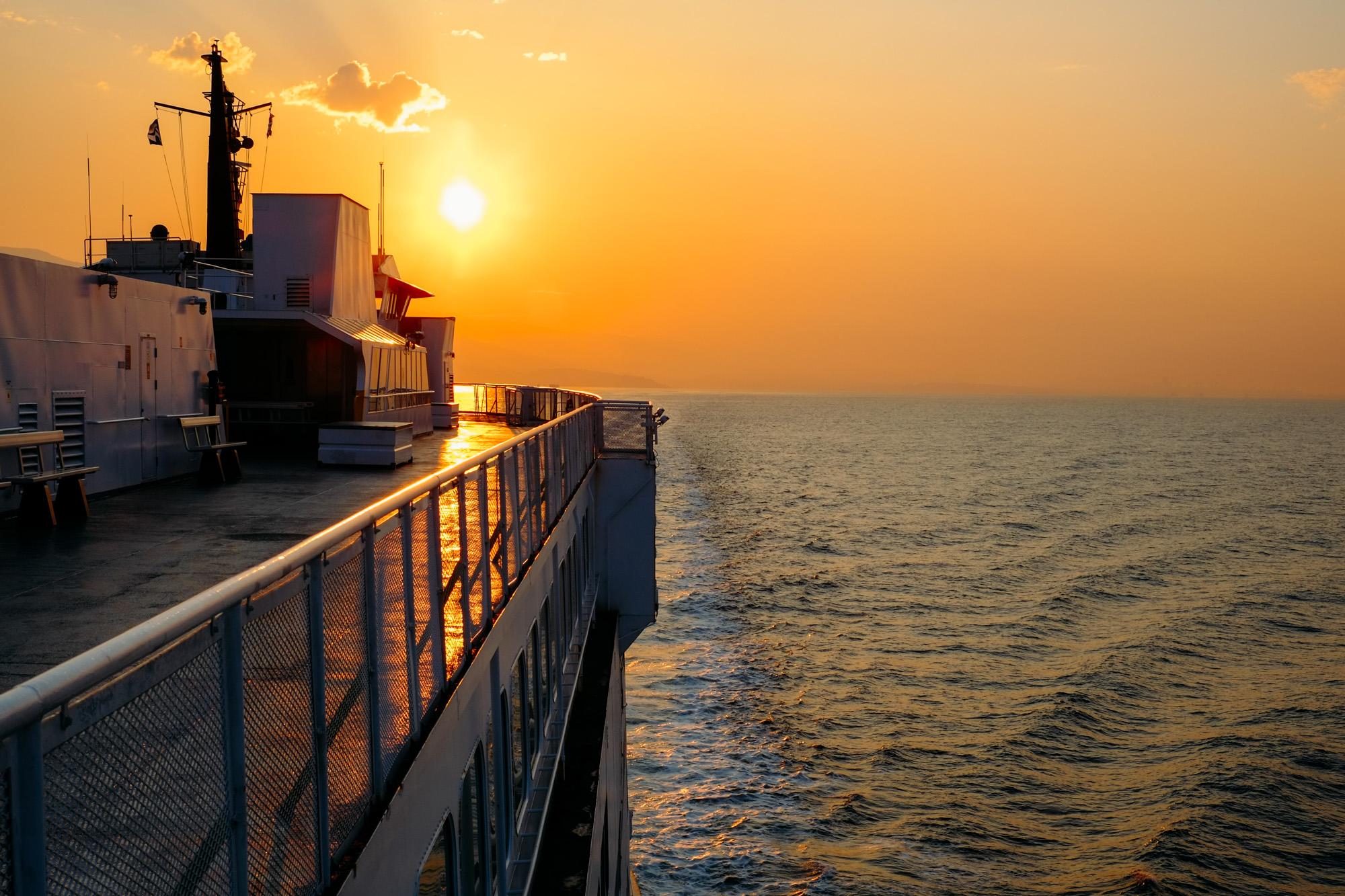 Sun rise on the BC Ferry crossing the Salish Sea