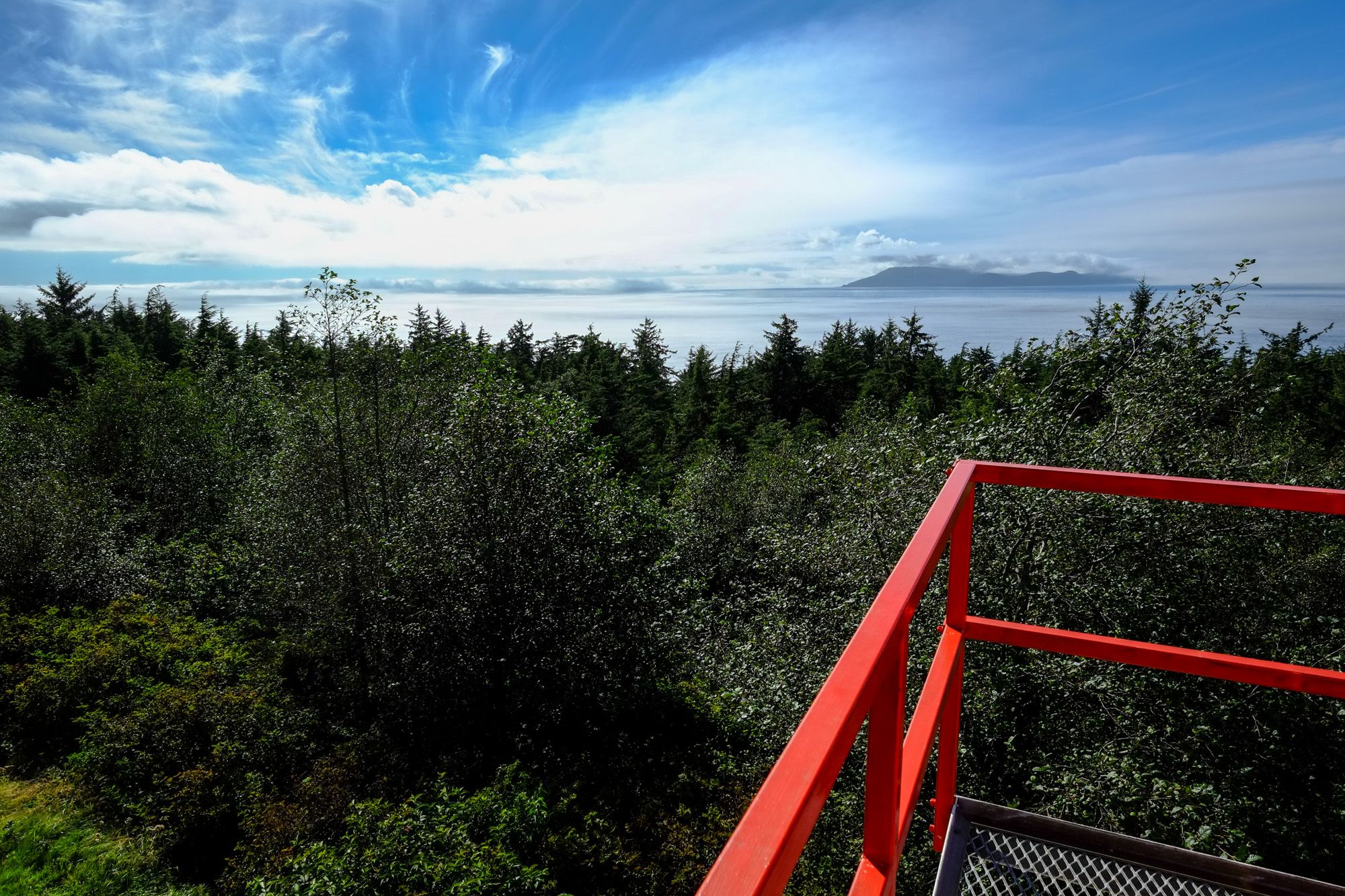 View from a lighthouse towards the Pacific