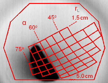 Fig. 2: Negative image of FILD camera frame showing prompt-losses as the dark region between 60◦ ≤ α ≤ 75◦. (Shot 141223, t = 380 ms)