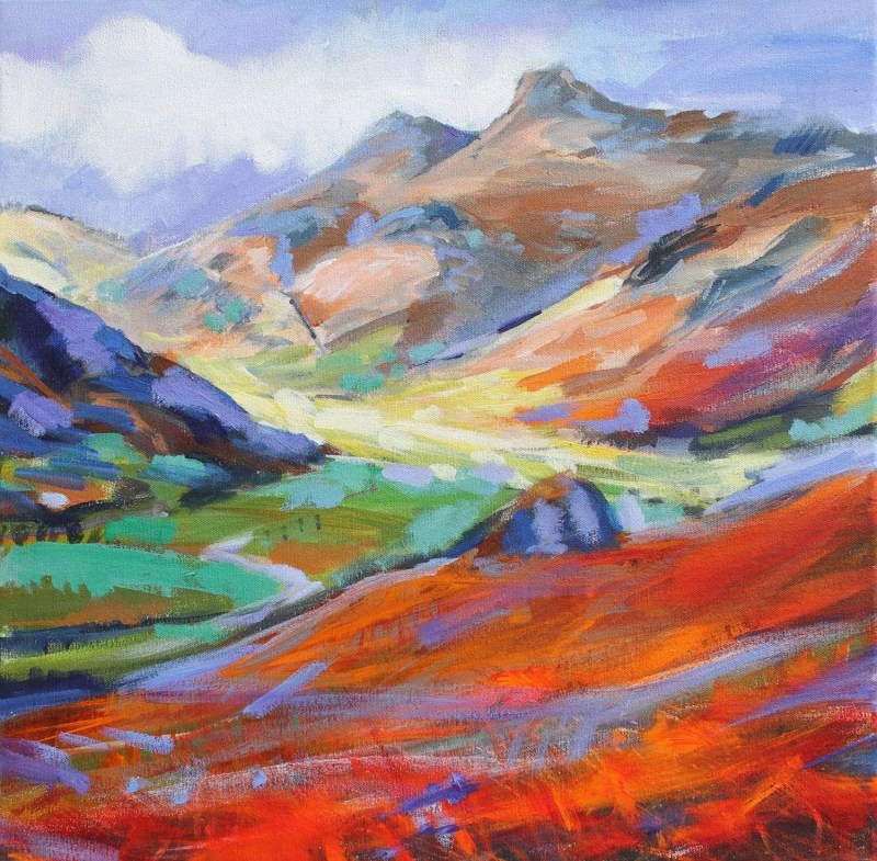 Langdale Valley - Harrison Stickle painting by David Pott