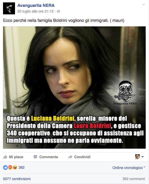 """Il messaggio del post: """"Ecco perché nella famiglia Boldrini vogliono gli immigrati. ( mauri)"""""""