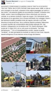 Il post di Rosario Marcianò sul disastro ferroviario pugliese