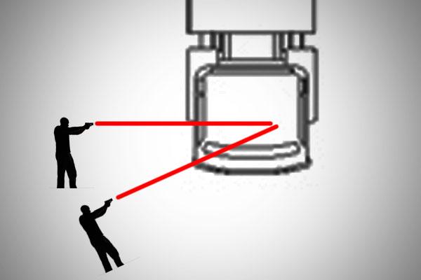 La direzione degli spari rispetto ai due agenti che sparavano nel video