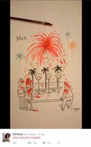 """L'opera della vignettista di Charlie Hebdo """"Coco"""" sulla strage di Nizza"""