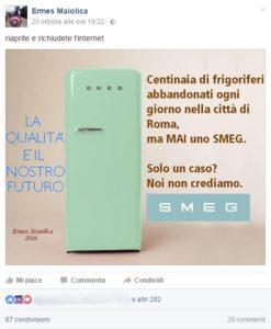L'immagine fake di Maiolica sui frigoriferi Smes e Roma