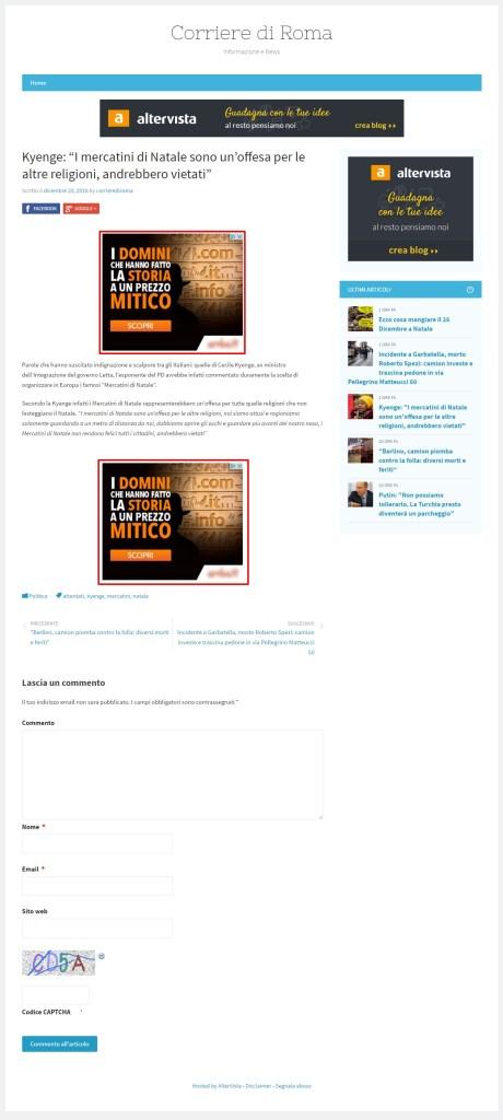 I banner presenti nel sito bufalaro