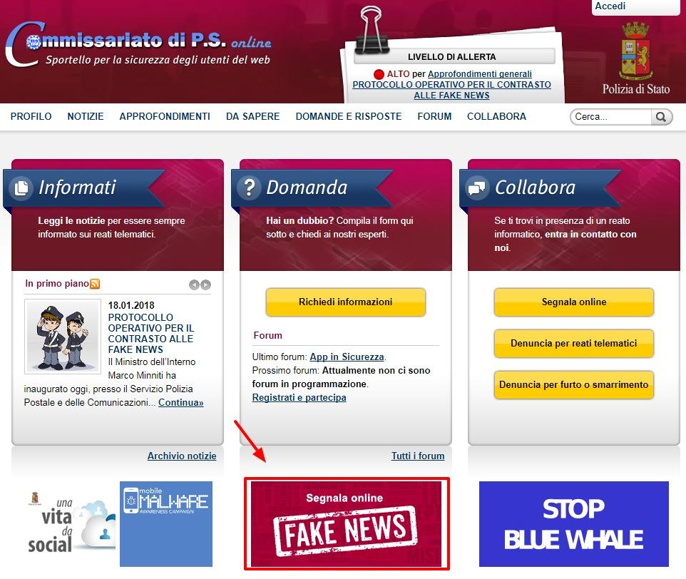 Il bottone rosso contro le Fake News della Polizia: i timori e gli errori di comunicazione