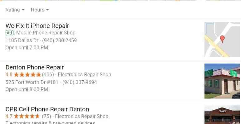 Cell Phone Repair searches in Denton Tx – Want to be in the top 3 for this search?