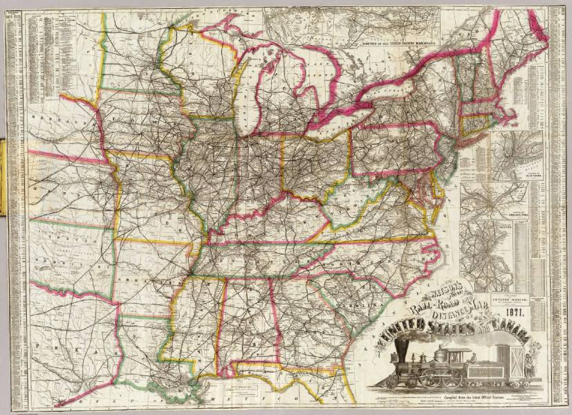 Watson s new rail road and distance map of the United States and     Watson s new rail road and distance map of the United States and Canada     Watson  Gaylord   1871
