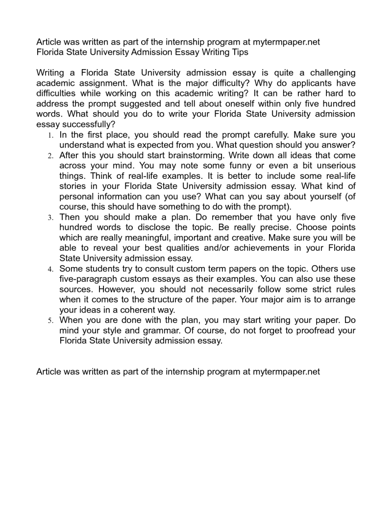Florida State University Admission Essay Sample | Mistyhamel