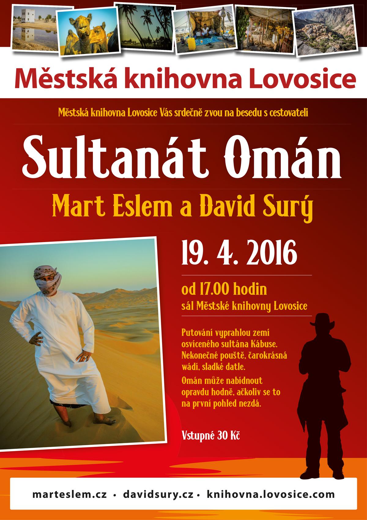 Mart Eslem a David Surý – Sultanát Omán – přednáška v Městské knihovně Lovosice