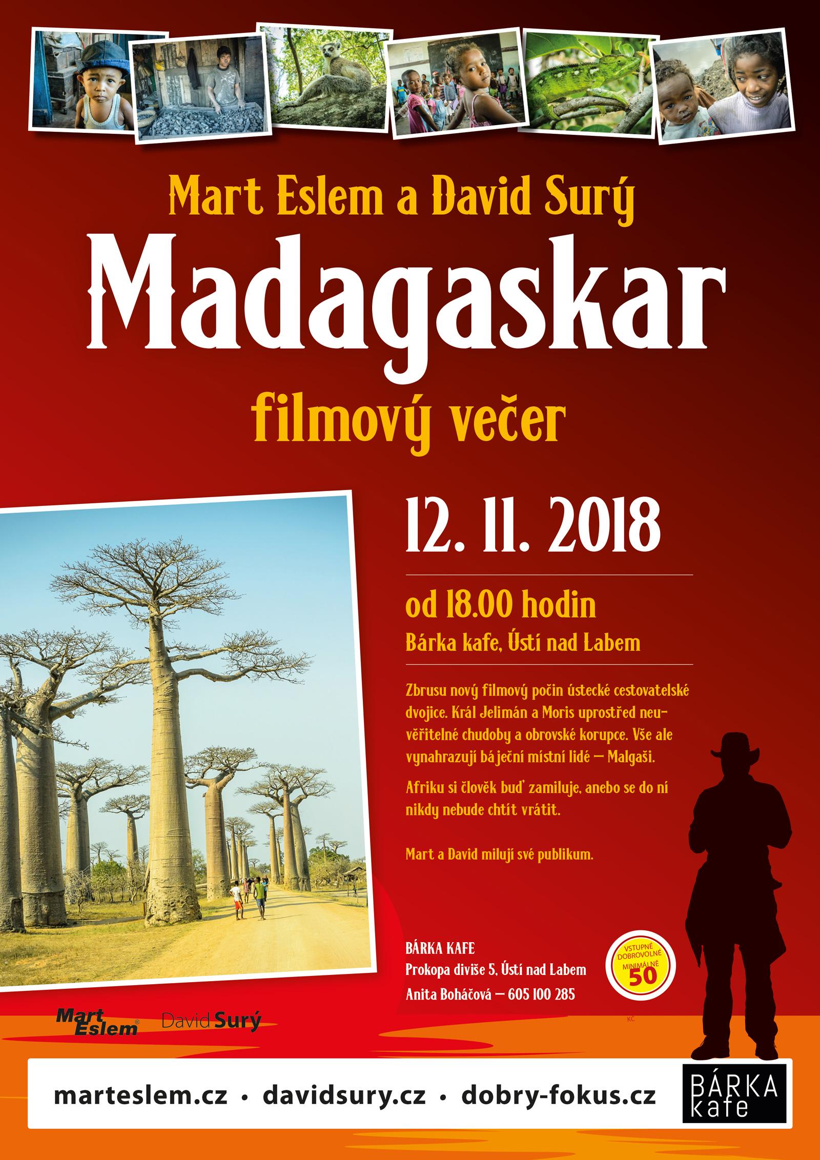 Madagaskar – beseda a film (Ústí nad Labem) Bárka kafe David Surý Mart Eslem
