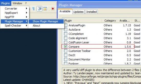 notepad++ plugin manager compare plugin