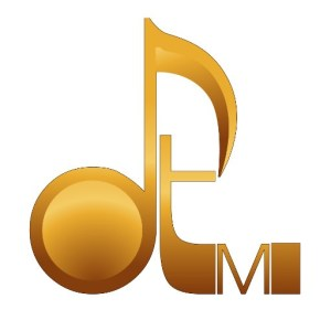 "A gold colored David Turner Music logo on a white background, with the lower case ""d"" crafted to look like a musical note."