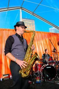 David Turner, playing sax before a gig in San Francisco.