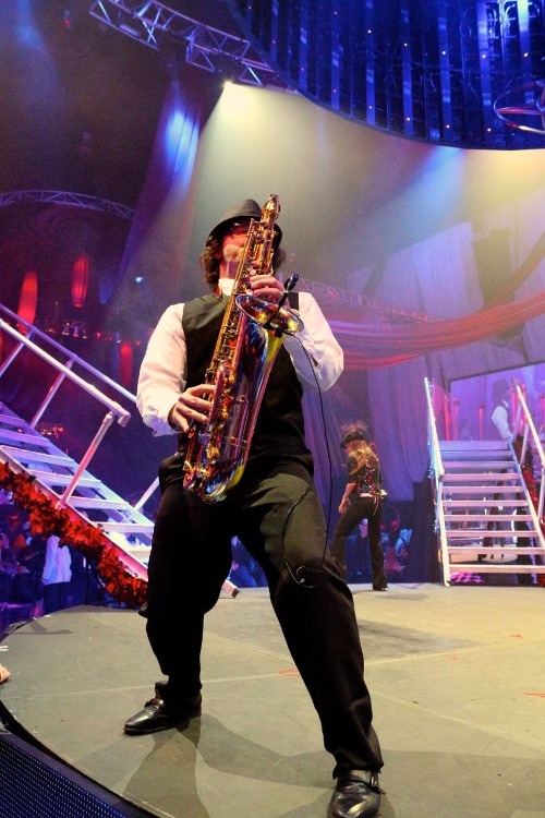 "Sarasota Saxophonist and ""Live Music"" DJ David Turner is pictured here on stage at the Hard Rock, performing for a New Year's Eve event."