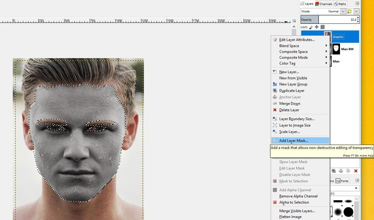 Dodajte Layer Mask u GIMP vodič za grafički sloj