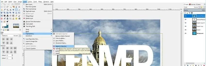 Alfa és átláthatóság GIMP kép a szöveges bemutatóban