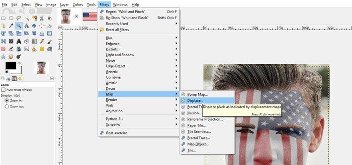 Upotrijebite Filters Map Displace Filter u GIMP-u
