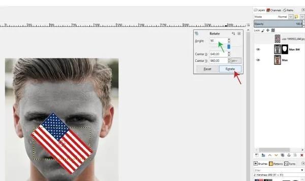 Pomoću alata Rotate rotirajte grafički vodič za GIMP