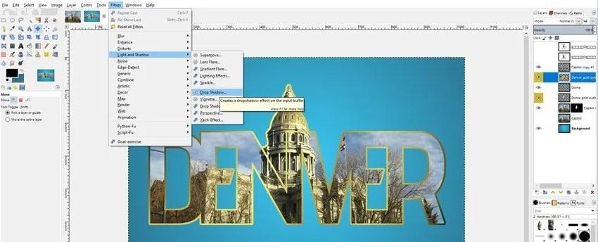 Csepp árnyék GIMP fotó alkalmazása a szöveges bemutatóban