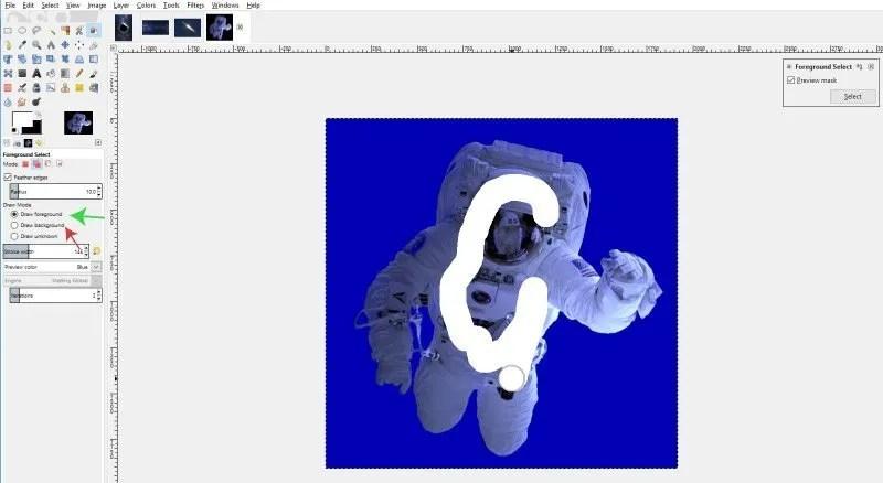Váltás az előtér és a húzás háttér módok között a GIMP-ben