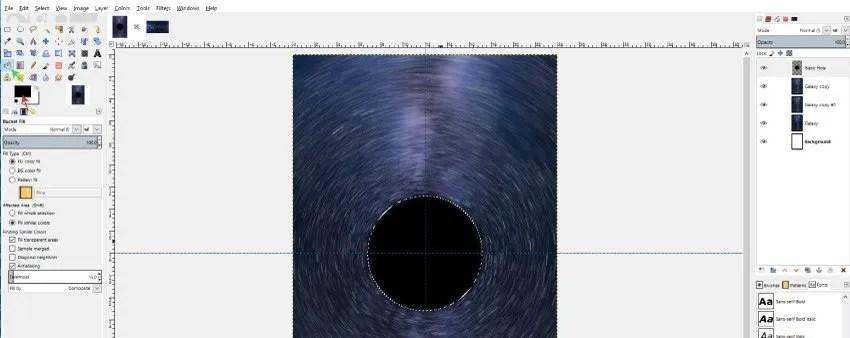Használja a Bucket Fill Tool-t a fekete lyuk kitöltéséhez
