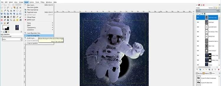 레이어와 이미지 크기 사이의 레이어 경계 확장