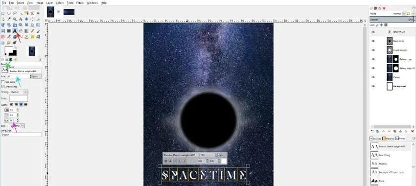 GIMP 캔버스에 주요 텍스트 레이어 추가하기