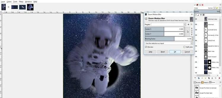 Zoom Motion Blur beállítások