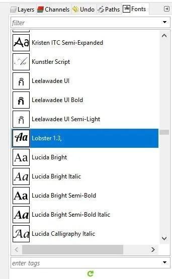 Lobster Font Installed in GIMP 2 10 6