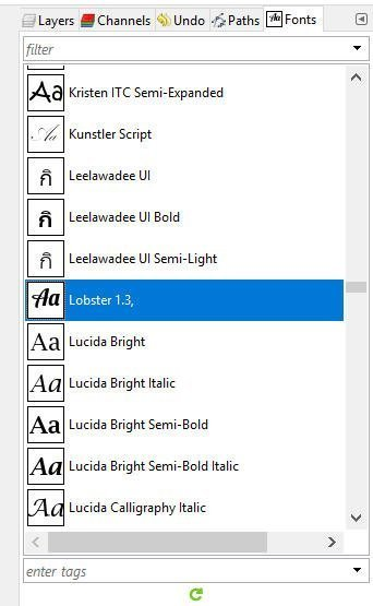 Lobster Font nameščen v GIMP 2 10 6
