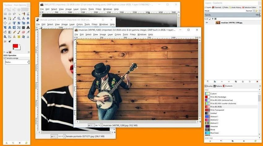 Modalità multi-finestra Immagini multiple aperte
