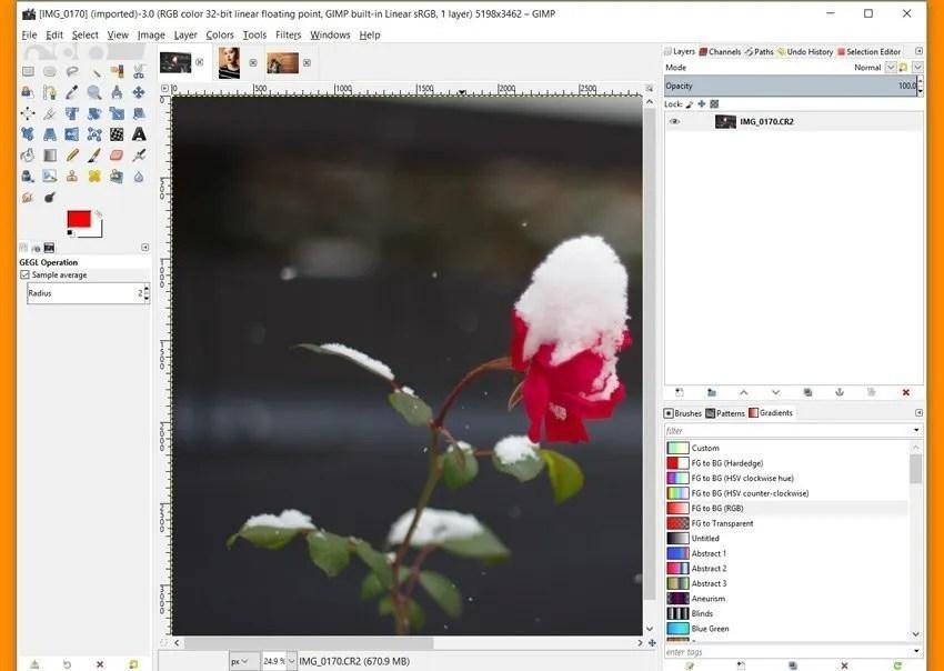 Modalità a finestra singola Immagini multiple aperte in GIMP