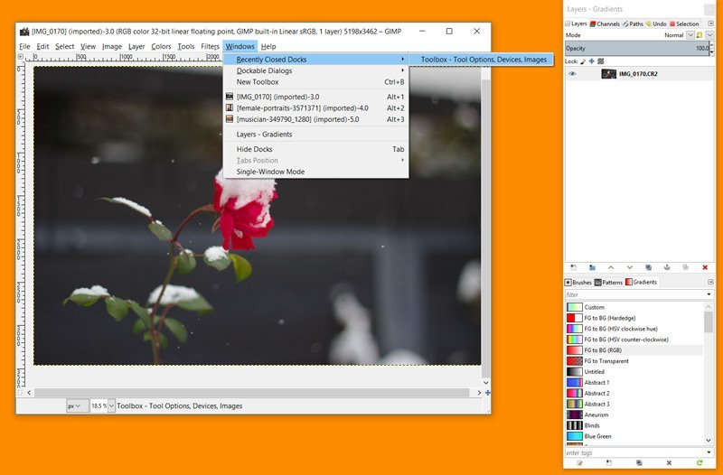 Menú de GIMP de la caja de herramientas de Docs recientemente cerrado