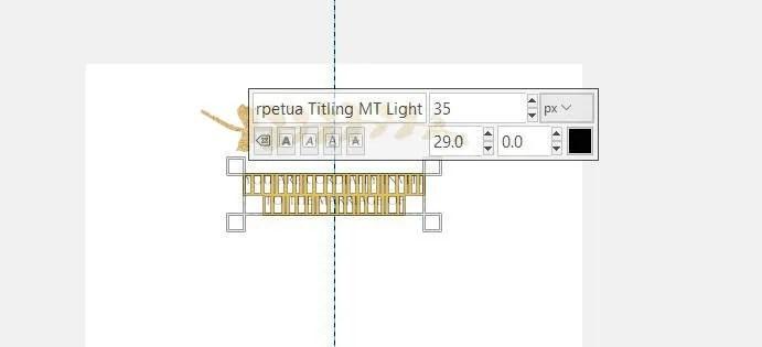 Text settings Perpetua Light Font Size 35 Line Spacing 29 GIMP