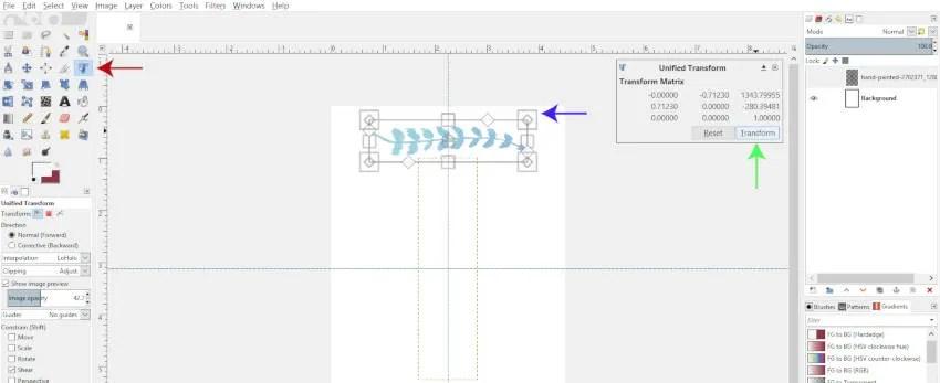 Az Unified Transform Tool használata a GIMP 2.10.8-ben