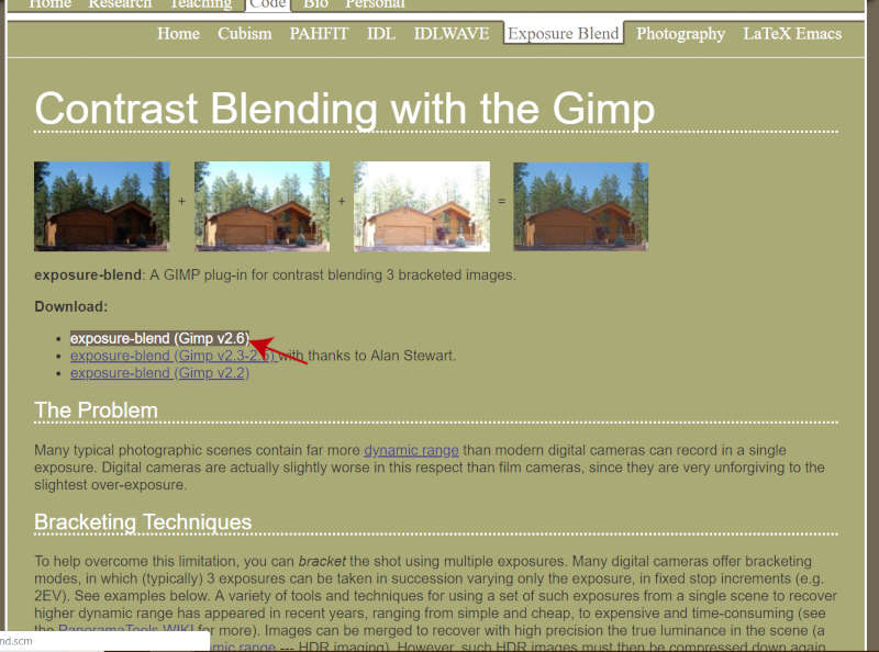 Preuzmite skriptu mješavine ekspozicije za GIMP