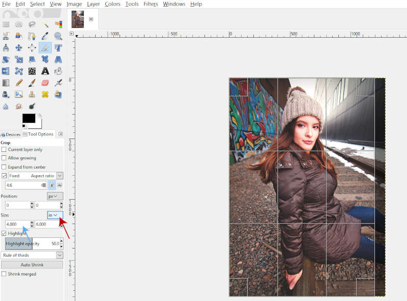 Setting the Right Crop Size White Border GIMP Tutorial