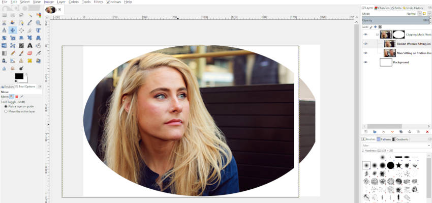 Move Image Into Place with Move Tool Clipping Mask
