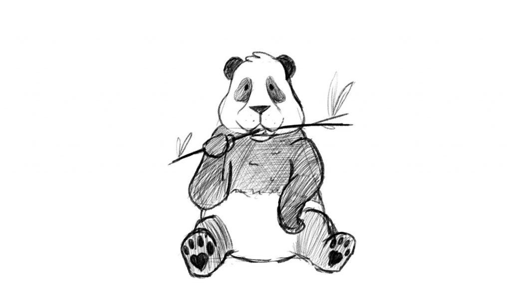 Cute panda drawing with video tutorial