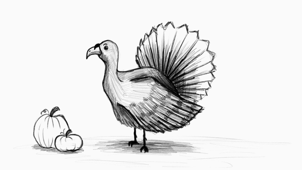 Sketch of turkey for thanksgiving 2020