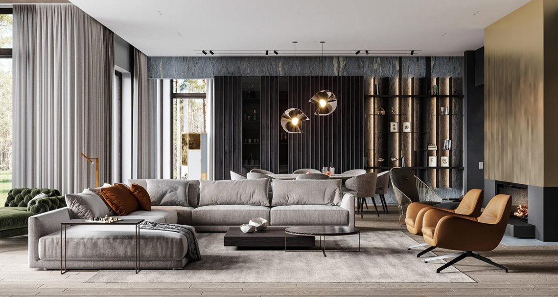 HOME DESIGNING: Captivating Modern Glamour In Grey, Gold ...